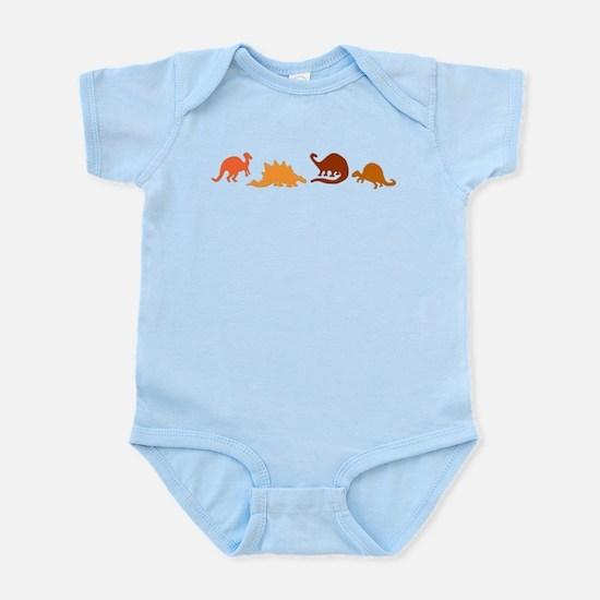 Dinosaurs and Kangaroos on Infant Bodysuit