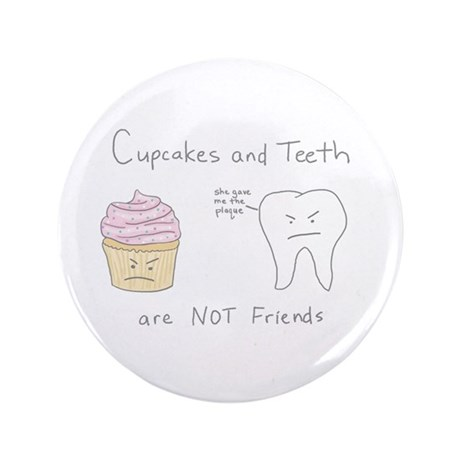 "Cupcakes vs. Teeth - 3.5"" Button (100 pack)"
