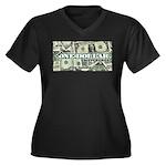 Women's Plus Size V-Neck T-Shirt (black) 1