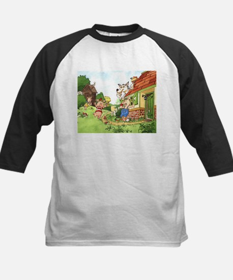 The Pigs and the Wolf Kids Baseball Jersey