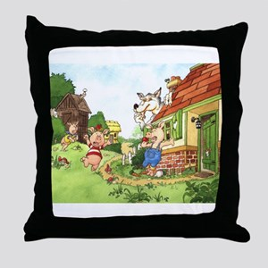 The Pigs and the Wolf Throw Pillow