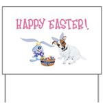 Jack Russell and Easter Bunny Yard Sign