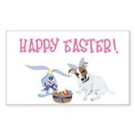 Jack Russell and Easter Bunny Sticker (Rectangle)