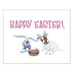 Jack Russell and Easter Bunny Small Poster