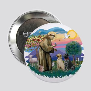 "St. Francis #2 / Two Labradors 2.25"" Button"