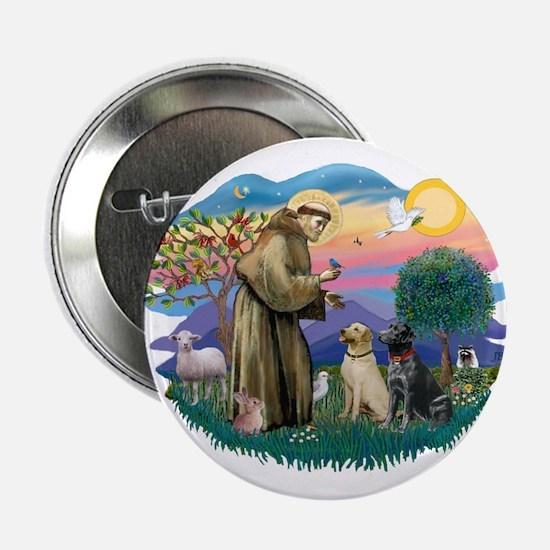 "St. Francis #2 / Two Labradors 2.25"" Button"