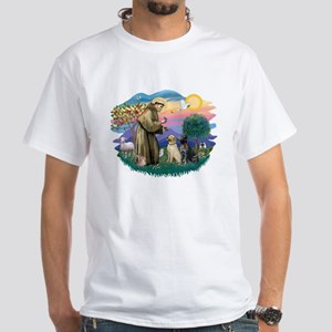 St. Francis #2 / Two Labradors White T-Shirt
