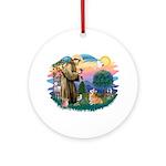 St Francis #2 / Welsh Corgi (P-7b) Ornament (Round