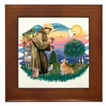 St Francis #2 / Welsh Corgi (P-7b) Framed Tile