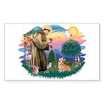 St Francis #2 / Welsh Corgi (P-7b) Sticker (Rectan