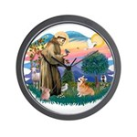 St Francis #2 / Welsh Corgi (P-7b) Wall Clock