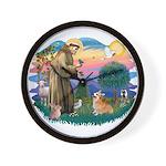St Francis #2 / Welsh Corgi (P-7b) Wall Clock