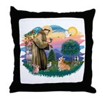 St Francis #2 / Welsh Corgi (P-7b) Throw Pillow