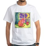 Cat and Moon Watercolor White T-Shirt