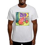 Cat and Moon Watercolor Ash Grey T-Shirt