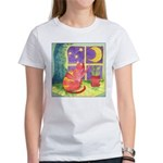 Cat and Moon Watercolor Women's T-Shirt