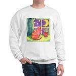 Cat and Moon Watercolor Sweatshirt