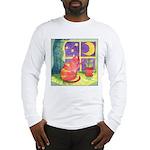 Cat and Moon Watercolor Long Sleeve T-Shirt