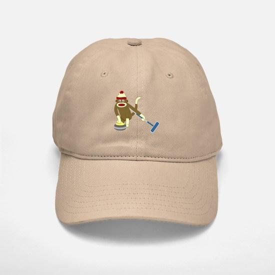 Sock Monkey Olympics Curling Baseball Baseball Cap
