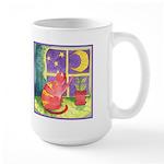 Cat and Moon Watercolor Large Mug