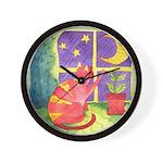 Cat and Moon Watercolor Wall Clock