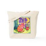 Cat and Moon Watercolor Tote Bag