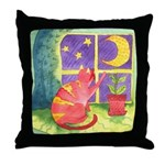 Cat and Moon Watercolor Throw Pillow