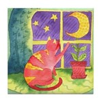 Cat and Moon Watercolor Tile Coaster