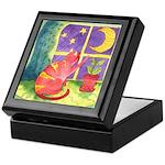 Cat and Moon Watercolor Keepsake Box