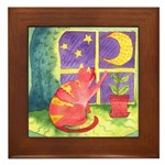 Cat and Moon Watercolor Framed Tile