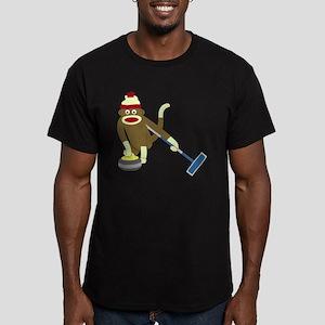 Sock Monkey Curling Men's Fitted T-Shirt (dark)