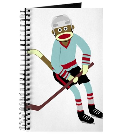 Sock Monkey Ice Hockey Player Journal