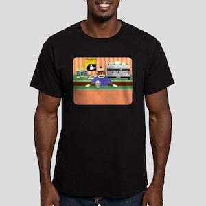Sock Monkey Coffee Shop Men's Fitted Dark T-Shirt