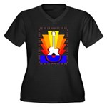Sunburst Women's Plus Size V-Neck Dark T-Shirt