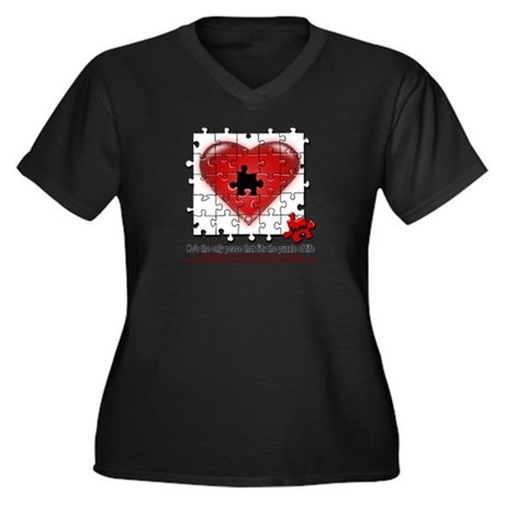heart of peace Women's Plus Size V-Neck Dark T-Shi