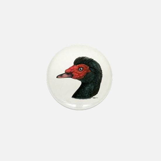 Muscovy Duck Head Black Mini Button