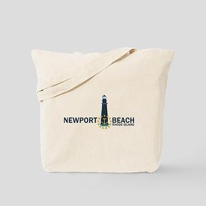 Newport Beach RI - Lighthouse Design Tote Bag