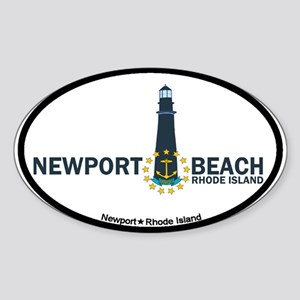 Newport Beach RI - Lighthouse Design Sticker (Oval