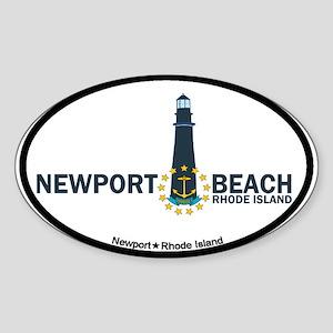 Newport Beach RI - Lighthouse Design Sticker (Oval