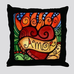 Amor Flaming Milagro Heart Throw Pillow