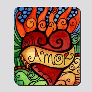 Amor Flaming Milagro Heart Mousepad
