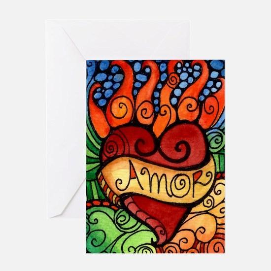 Amor Flaming Milagro Heart Greeting Card
