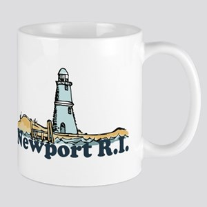 Newport Beach RI - Lighthouse Design Mug