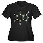 Caffeine Molecule Women's Plus Size V-Neck Dark T-