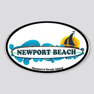 Newport Beach RI - Surf Design Sticker (Oval)
