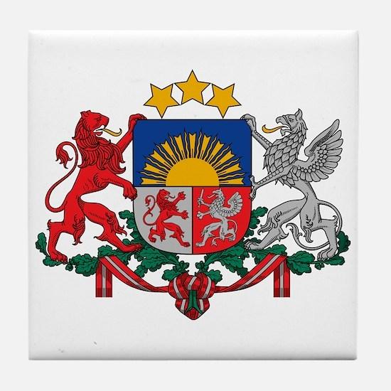 Latvia Coat of Arms Tile Coaster