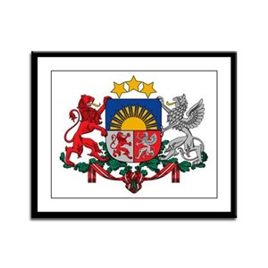 Latvia Coat of Arms Framed Panel Print