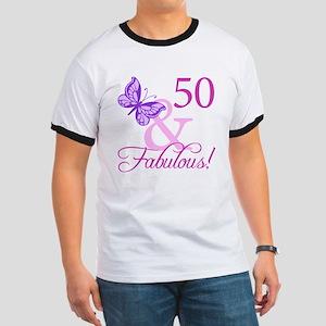 50 & Fabulous (Plumb) Ringer T