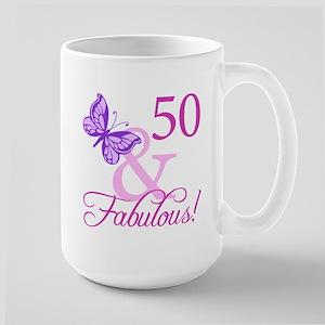 50 & Fabulous (Plumb) Large Mug