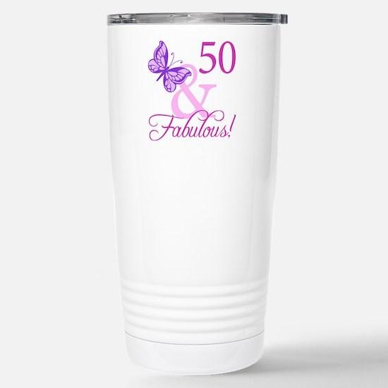 50 & Fabulous (Plumb) Stainless Steel Travel Mug